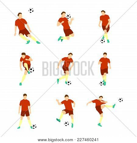 Various Football Soccer Player Vector Illustration Graphic Design Set