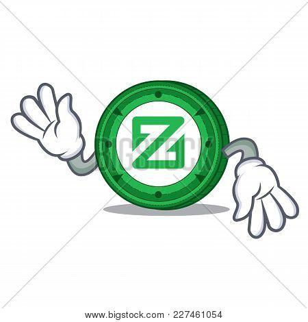 Crazy Zcoin Mascot Cartoon Style Vector Illustration