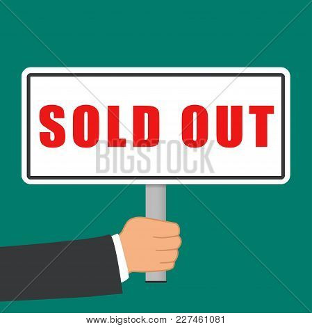 Illustration Of Sold Out Sign Flat Concept