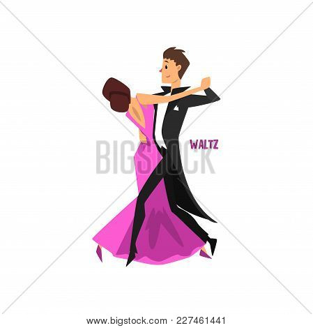 Professional Dancer Couple Dancing Waltz, Pair Of Young Man And Woman Dressed In Elegant Clothing Pe