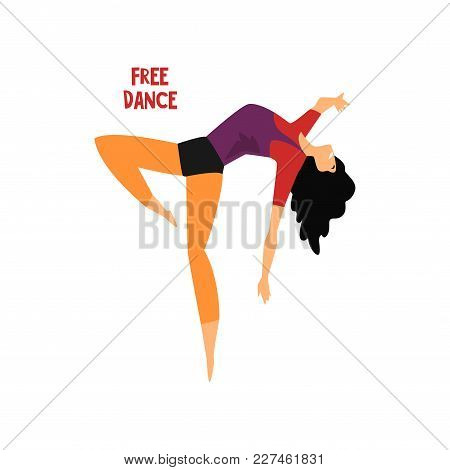 Girl Dancing Free Dance Vector Illustration Isolated On A White Background.
