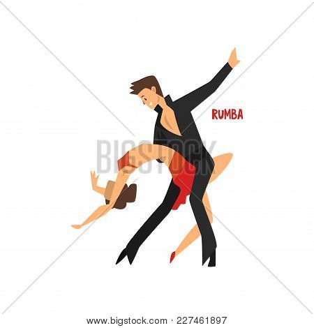 Professional Dancer Couple Dancing Rumba, Pair Of Young Man And Woman Dressed In Elegant Clothing Pe