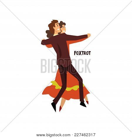Professional Dancer Couple Dancing Foxtrot, Pair Of Young Man And Woman Dressed In Elegant Clothing