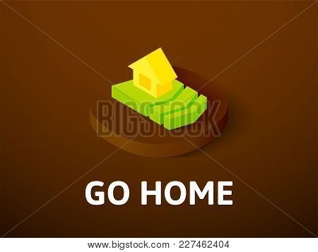 Go Home Icon, Vector Symbol In Flat Isometric Style Isolated On Color Background