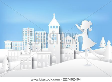 Girl Figure Ice Skating Having Happiness On Outdoor In Winter Paper Art, Paper Craft Style