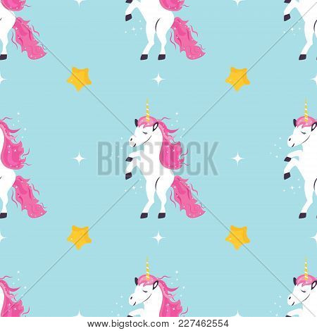 Seamless Magic Pattern With Cute Dreaming Unicorns.
