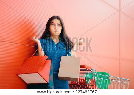 Unhappy Shopper Woman With Shopping Cart In Front Of Store