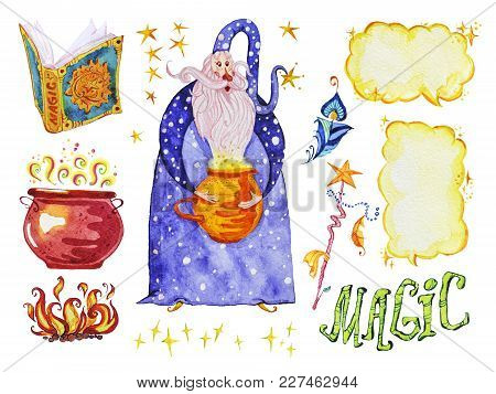 Watercolor Magic Illustration With Hand Drawn Artistic Elements Isolated On White Background - Wizar