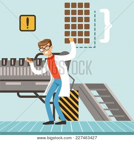 Hocolate Factory Production Line, Male Confectioner Controlling The Production Process Vector Illust