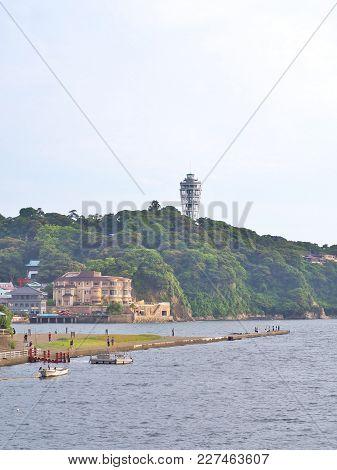 View Of Enoshima Island With Sea In Kanagawa, Japan. Enoshima Is A Pleasantly Touristy Island Just O