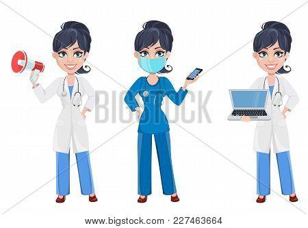 Doctor Woman, Professional Medical Staff. Beautiful Cartoon Character Medic. Set With Loudspeaker, W