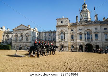 London / Uk - November 17 2017: Cavalryman Troop On Strong Black Horse At The Household Cavalry Muse