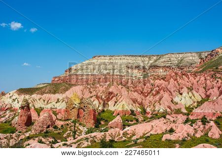 Pink Valley At Cappadocia, Anatolia, Turkey. Volcanic Mountains In Goreme National Park.