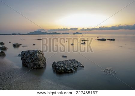 Beautiful Sea Scape With Morning Light At Saphan Hin Beach Phuket Southern Of Thailand