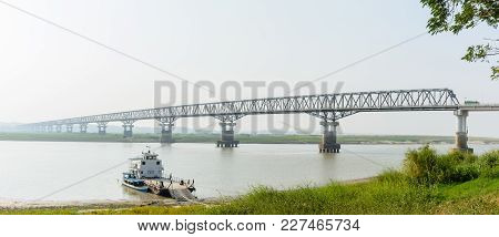 Modern Bridge At Magway, Myanmar. It Is Joining Between Minbu And Magway Township, Over The Irrawadd