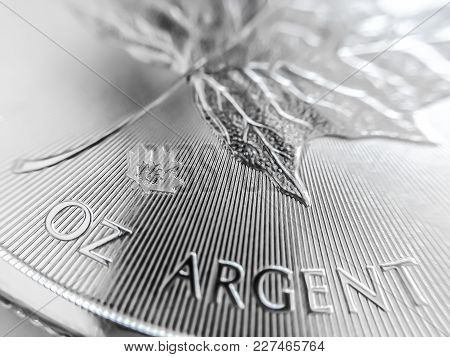 Macro Close Up Of A Silver Bullion Coin