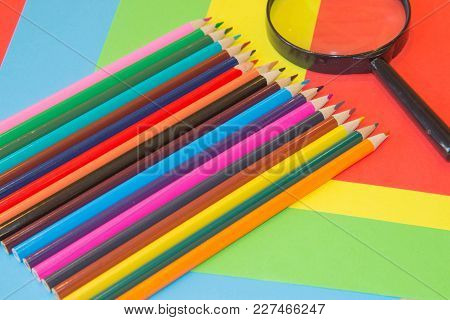 Colors Pencils, Colorful Many Crayons. Variety Of Color. Back To School Concept