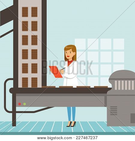 Hocolate Factory Production Line, Female Controller Holding Clipboard And Controlling The Production