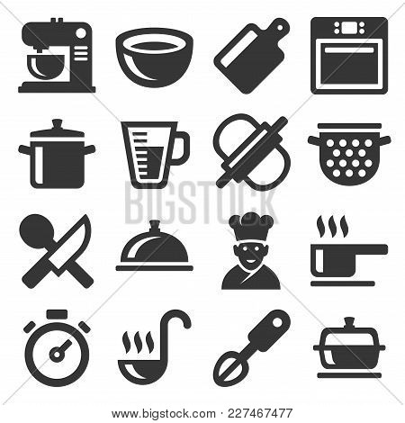 Cooking Icons Set On White Background. Vector Illustration