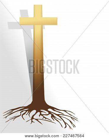 Abstract Christian Cross Religious Symbol - Vecror Illustration