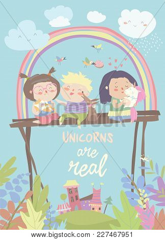 Kids With Their Pets. One Of Them Is Unicorn. Vector Illustration