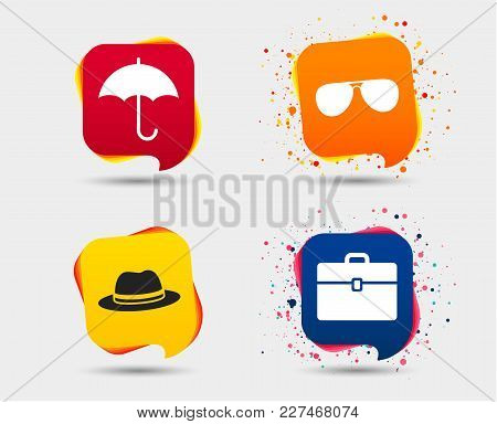 Clothing Accessories Icons. Umbrella And Sunglasses Signs. Headdress Hat With Business Case Symbols.