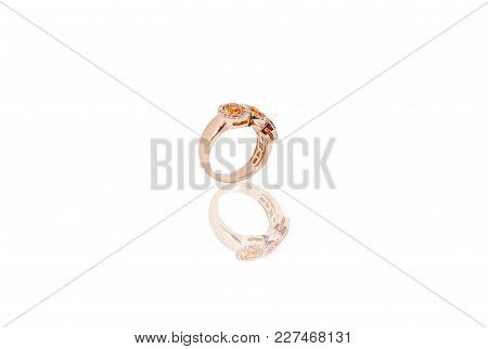 Yellow Gold Precious Ring With Diamonds On White Isolated Background.