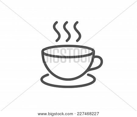 Coffee Drink Line Icon. Hot Cup Sign. Fresh Beverage Symbol. Quality Design Element. Editable Stroke