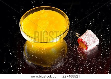 Honey, Rakhat-lukum Sprinkled With Coconut Shavings And Almond