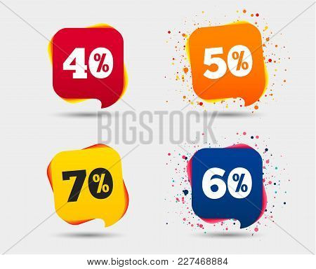 Sale Discount Icons. Special Offer Price Signs. 40, 50, 60 And 70 Percent Off Reduction Symbols. Spe