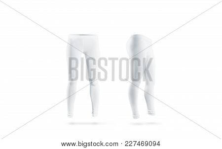 Blank White Leggings Mockup, Front And Side View, Isolated. Clear Leggins Mock Up Template. Cloth Pa