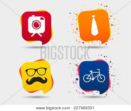 Hipster Photo Camera With Mustache Icon. Glasses And Tie Symbols. Bicycle Family Vehicle Sign. Speec