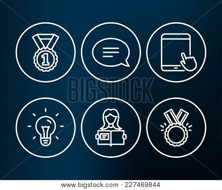 Set Of Idea, Woman Read And Chat Icons. Tablet Pc, Best Rank And Honor Signs. Light Bulb, Girl Study