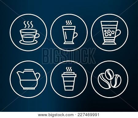 Set Of Latte, Coffee Cup And Frappe Icons. Takeaway, Milk Jug And Coffee-berry Beans Signs. Tea Glas