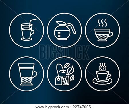 Set Of Mint Bag, Cocktail And Double Latte Icons. Coffeepot, Cafe Creme And Tea Cup Signs. Mentha Te