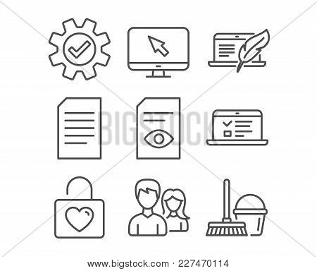 Set Of Couple, View Document And Service Icons. Web Lectures, Document And Copyright Laptop Signs. W