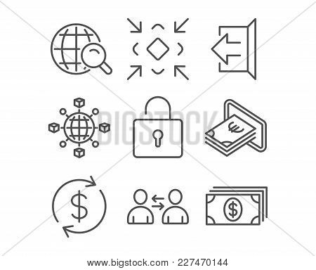 Set Of Communication, Minimize And Cash Icons. Lock, Sign Out And Usd Exchange Signs. Logistics Netw