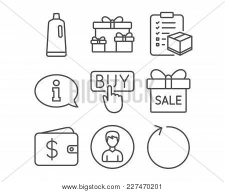Set Of Information, Person And Parcel Checklist Icons. Sale Offer, Shampoo And Surprise Boxes Signs.