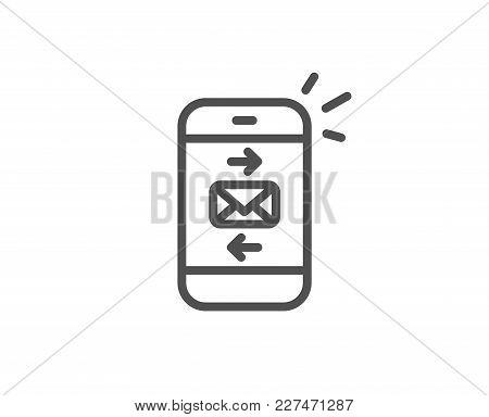 Mail Line Icon. Smartphone Communication Symbol. Business Chat Sign. Quality Design Element. Editabl