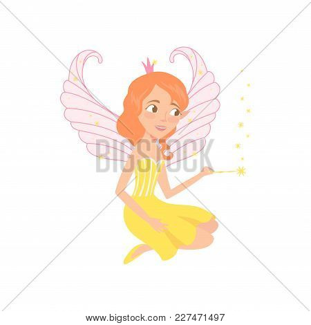 Red-haired Fairy Sitting And Spreading Pixie Dust Using Magic Wand. Fantasy Fairytale Character. Car