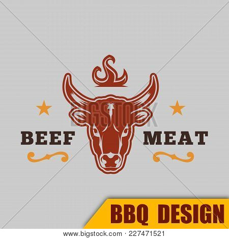 Bbq Beef Logo Meat Vector Image Frame