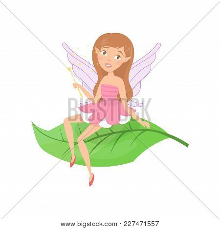 Cute Forest Fairy Sitting On Green Leaf. Adorable Girl With Cute Elf Ears And Little Wings Dressed I
