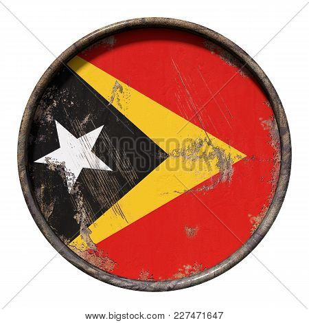 3d Rendering Of A Timor-leste Flag Over A Rusty Metallic Plate. Isolated On White Background.