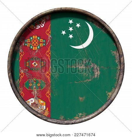 3d Rendering Of A Turkmenistan Flag Over A Rusty Metallic Plate. Isolated On White Background.