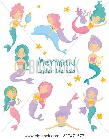Cartoon Collection Of Beautiful Mermaids. Cute Little Girls With Colorful Hair And Fish Tails. Fanta
