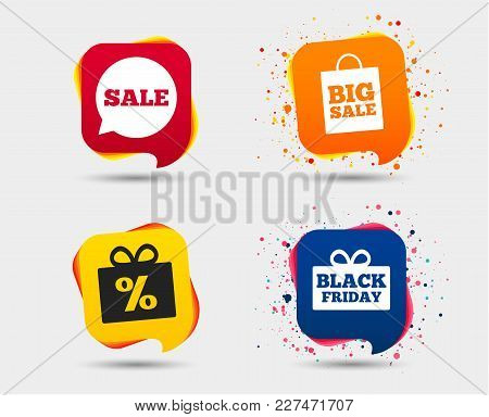 Sale Speech Bubble Icon. Black Friday Gift Box Symbol. Big Sale Shopping Bag. Discount Percent Sign.