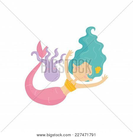 Adorable Mermaid With Pink Tail Swimming With Purple Octopus. Water Nymph With Turquoise Hair. Mythi