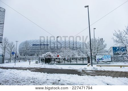 Munich , Germany - February 18 2018 : The Allianz Arena Is Covered With Snow After The Snow Storm
