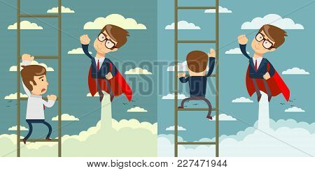 Businessman Superhero Fly Pass Businessman Climbing The Ladder.business Competition Concept. Set. Ve