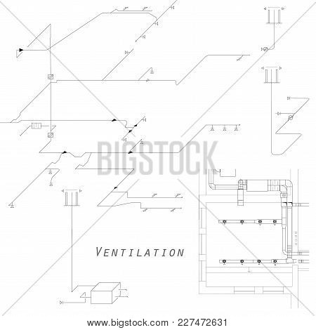 Axonometric View Of The Ventilation System. Vector Design For Hvac. The Ducts On The Plan
